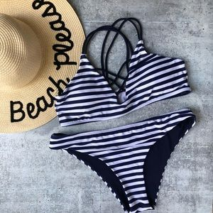 Cupshe navy and white stripe criss cross bikini